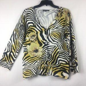 Pierri New York beaded zebra pint knit cardigan M